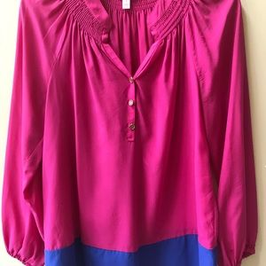 "Lilly Pulitzer Colorblock ""Elsa"" Silk Top/Blouse"
